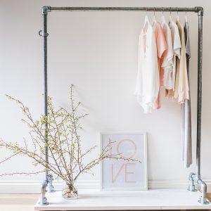 Off The Rails - White Wash Clothes Rail with Bottom Shelf