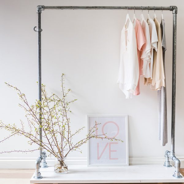 Off The Rails - White Wash Clothes Rail with Bottom Shelf
